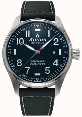 Alpina メンズsmartimerパイロットオート|ブラックレザーストラップ|ダークブルーの文字盤 AL-525NN4S6