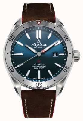 Alpina メンズアルピナー4オートマチック|ブラウンレザーストラップ|青い文字盤 AL-525NS5AQ6
