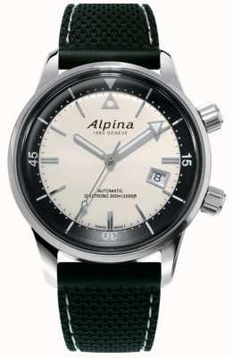 Alpina メンズシーストロングダイバーヘリテージ|黒のシリコンストラップ|白い文字盤 AL-525S4H6