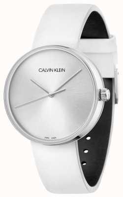 Calvin Klein 女性用ホワイトレザーストラップ|シルバーダイヤル KBL231L6
